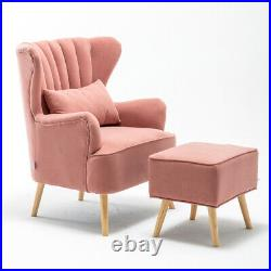 Wing Back Armchair Velvet Shell Back Sofa with Footstool Occasional Accent Chair