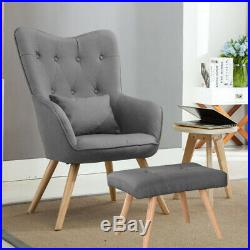 Wing Back Armchair and Footstool Set Modern Fabric Tub Chair Living Bedroom Sofa