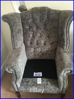 Wing Back Armchair sofa Chair crushed velvet used