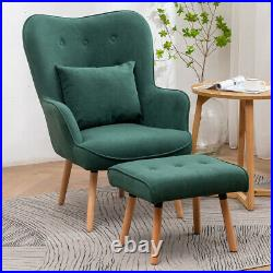 Wing Back Armchair with Footstool Set Living Bed Room Lounge Chair Leisure Sofa