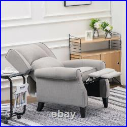 Wing Back Bloated Tartan Fabric Armchair Check Sofa Charcoal Recliner Grey Chair