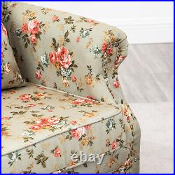Wing Back Butterfly/Floral Fabric Armchair Chesterfield Studs Sofa Lounge Chair