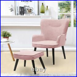 Wing Back Chair Sofa Tub Velvet Fabric High Back Armchair with Footstool Metal Leg
