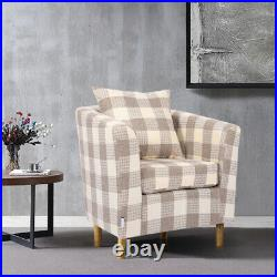Wing Back Checked Fabric Armchair Living Room Bedroom Lounge Chair Fireside Sofa