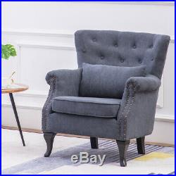Wing Back Chenille Armchair 1 Seater Sofa Accent Chair Reading Couch Living Room