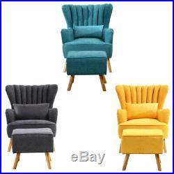 Wing Back Chesterfield Sofa Chair Velvet Fabric Sofa Accent Lounge Tub Armchair
