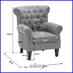 Wing Back Fireside Armchair Cottonlinen Fabric Occasional Chair Sofa Single Seat