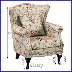 Wing Back Fireside Armchair Sofa Chair Floral Fabric Seat Lounge Home PHJM1332