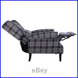 Wing Back Fireside Check Fabric Recliner Armchair Lounge Seat Vintage Sofa Chair