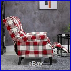 Wing Back Fireside Check Fabric Recliner Armchair Sofa Lounge Cinema Chair Home