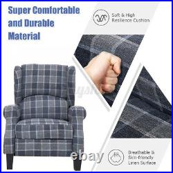 Wing Back Fireside Check Fabric Recliner Armchair Sofa Lounge Cinema Chair Room