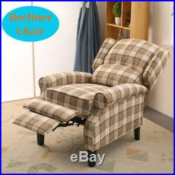 Wing Back Fireside Check Fabric Recliner Armchair Sofa Lounge Plaid Chair
