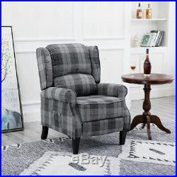 Wing Back Fireside Check Fabric Recliner Armchair Sofa Lounge Seat Arm Chair UK