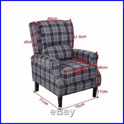 Wing Back Fireside Check Fabric Recliner Armchair Vintage Sofa Lounge Seat Chair