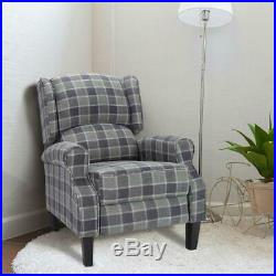 Wing Back Fireside Fabric Recliner Armchair Indoor Sofa Lounge Plaid Chair Seat
