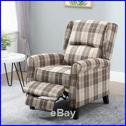Wing Back Fireside Recliner Armchair Sofa Lounge Chair Fabric Velvet PU Leather