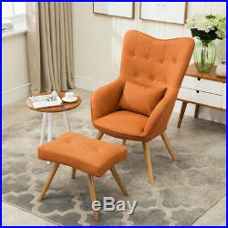 Wing Back Home Fireside Linen Fabric Armchair Sofa Cushion Lounge Chairs Stool