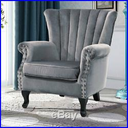 Wing Back Home Reception Accent Chair Velvet Padded Large Seat Armchairs Sofa UK