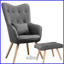 Wing Back Linen Fabric Armchair 1 Seater Sofa Buttoned Back Chair with Footstool