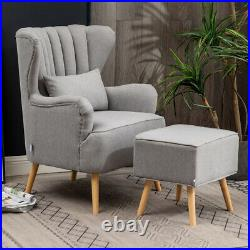 Wing Back Linen Fabric Armchair Scalloped Cushioned Sofa Club Chair with Footstool