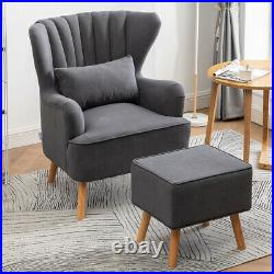 Wing Back Matte Velvet Armchair Occasional Accent Chair Sofa Seat with Footstool