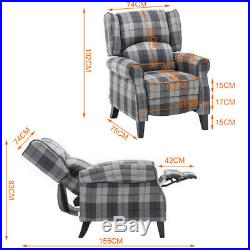 Wing Back Plaid Check Fabric Lounge Armchair Recliner Sofa Reclining Chair Seat