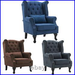 Wing Back Queen Anne Chestrfied Sofa Armchair Button Studded High Back Chair Tub