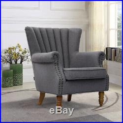 Wing Back Queen Anne Fireside Armchair Fabric Tub Chair Lounge Sofa Wooden Legs