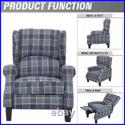 Wing Back Recliner Chair Fireside Fabric Reclining Armchair Sofa Lounge