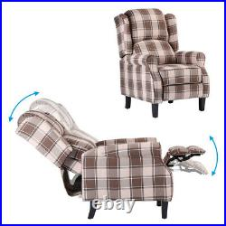 Wing Back Recliner Fireside Checked Fabric Reclining Armchair Sofa Living Room