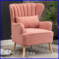 Wing Back Scalloped Armchair Matte Velvet Single Sofa Accent Chairs with Footstool
