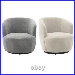 Wing Back Swivel Tub Armchair Linen Fabric Sofa Padded Seat Barrel Chairs Office