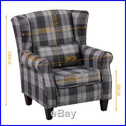 Wing Back Tartan Fabric Armchair Check Sofa Fireside Recliner Grey Chairs Seater
