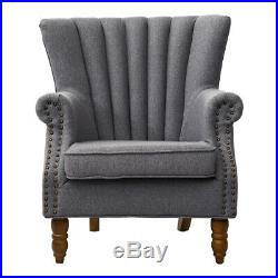 Wing Backed Queen Anne Style Fireside Tub Chair Armchair Wooden Legs Winged Sofa