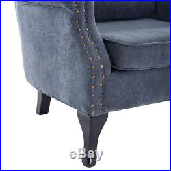 Wing Chair High Back Button Fabric Tub Armchair Fireside Living Room Lounge Sofa