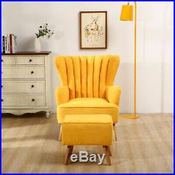 Wing Chair High Back Faux Wool Fabric Armchair Accent Single Seat Sofa With Stools