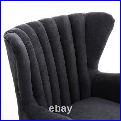 Wing Chenille Armchair Fireside Lounge Chair Anthracite Grey with Footstool Sofa