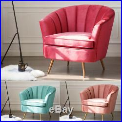 Wing High Back Tub Chair Accent Armchair Velvet Fabric Dining Living Room Sofa
