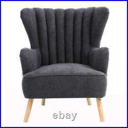Winged Chenille Orthopaedic Armchair Tub Lounge Chair Grey with Footstool Sofa