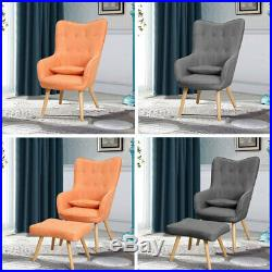 Winged Fabric Button Occasional Chair High Back Armchair Sofa Footstool Fireside