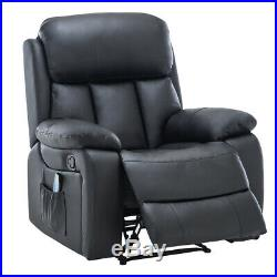 Winged Leather Recliner Chair Massage Armchair With Electric Heated Sofa Lounge