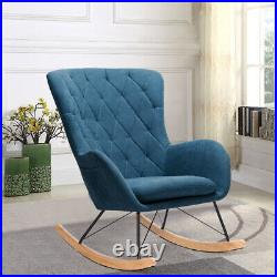 Wooden Upholstered Rocking Armchair Button Lounge Wing Back Chair Sofa Fireside
