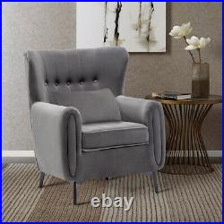 XL Large Wing Back Armchair Sofa Velvet Button Lounge Fireside Occasional Chair