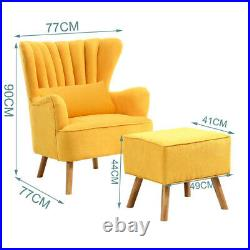 Yellow Chenille Fabric Sofa Scallop Shell Tub Chair Wing Back Armchair&Footstool