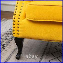 Yellow Linen Fabric Wing Back Armchair Button Studded Sofa Accent Cushion Chair